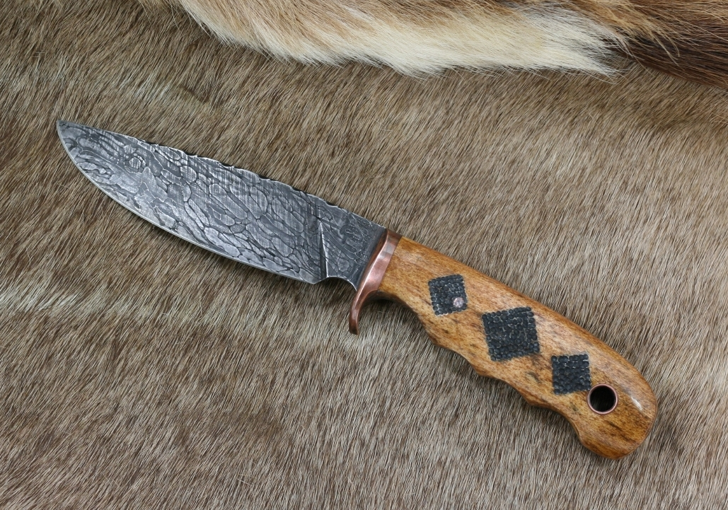 Cable Damascus And Elk Custom Hunting Knife