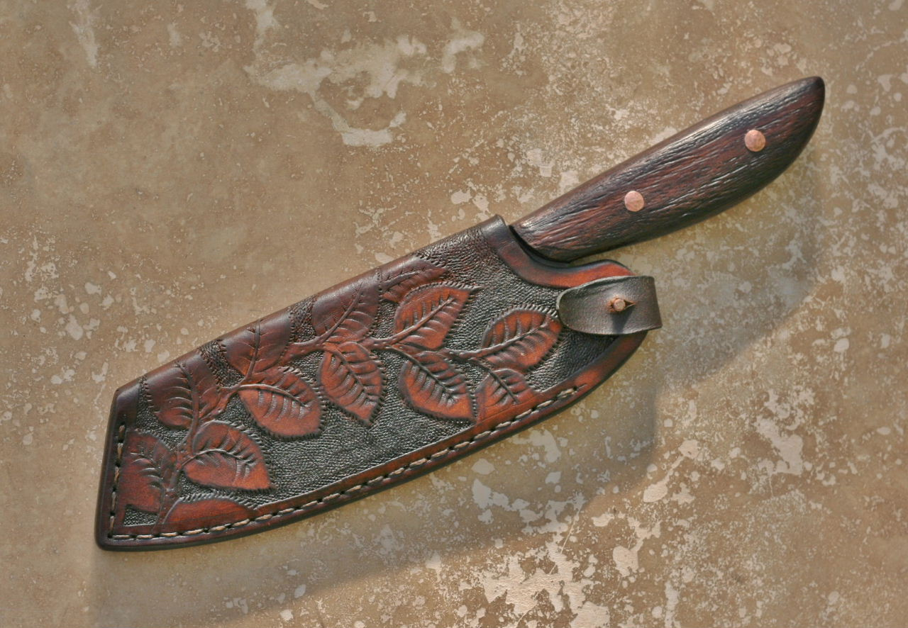 Custom Camp Chef Knife In Leather