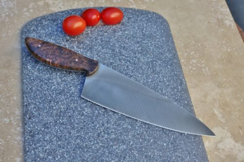 8 inch Chefs knife, dark maple burl