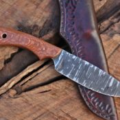 Spear point, hunter-utility, leopard wood