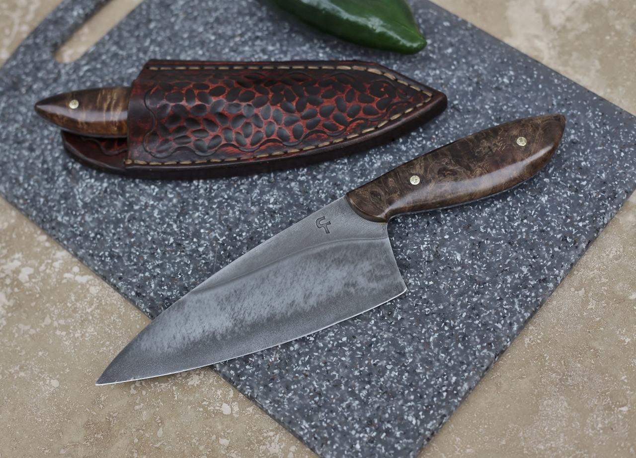 Custom chefs set in leather, ironwood burl