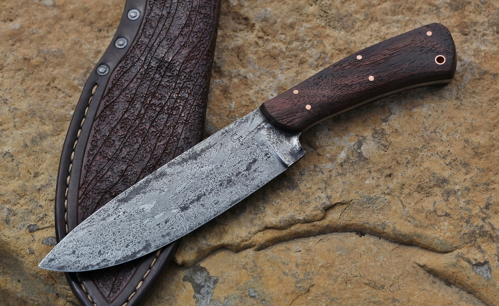 Spear point camp knife, African rosewood