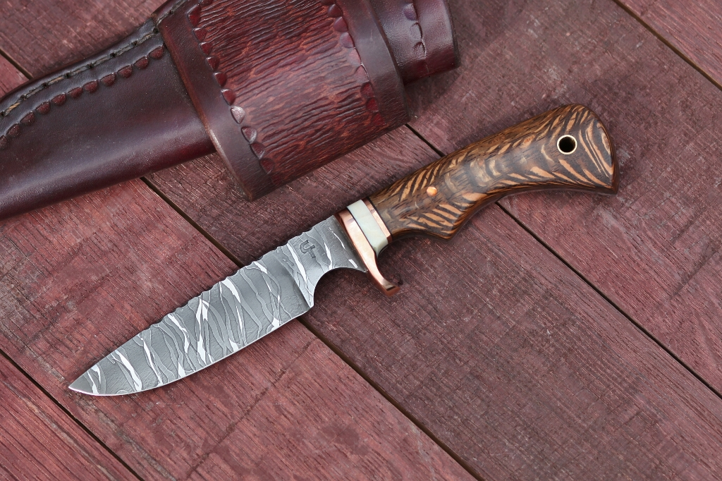 Custom Bird and trout, utility knife, lacewood