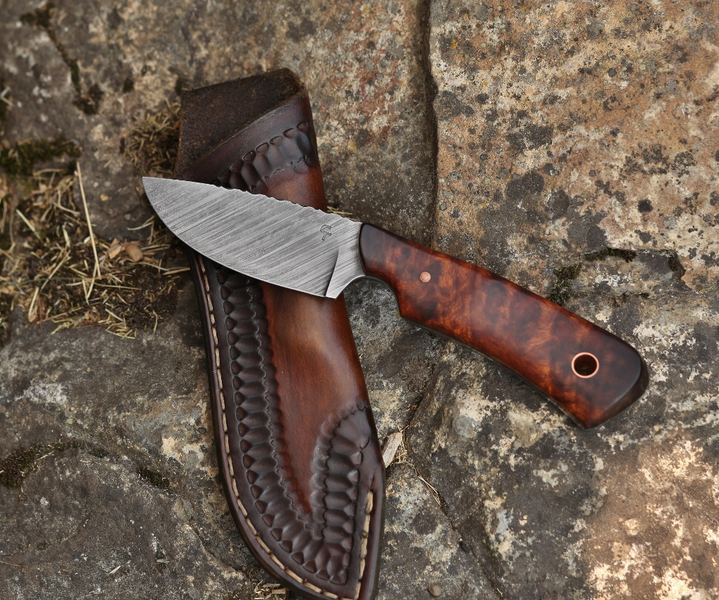 Guardless drop point hunter, ironwood burl