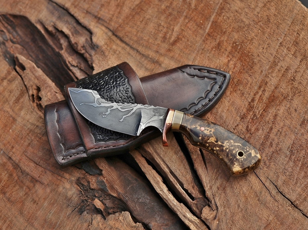 Modified drop point hunter, box elder