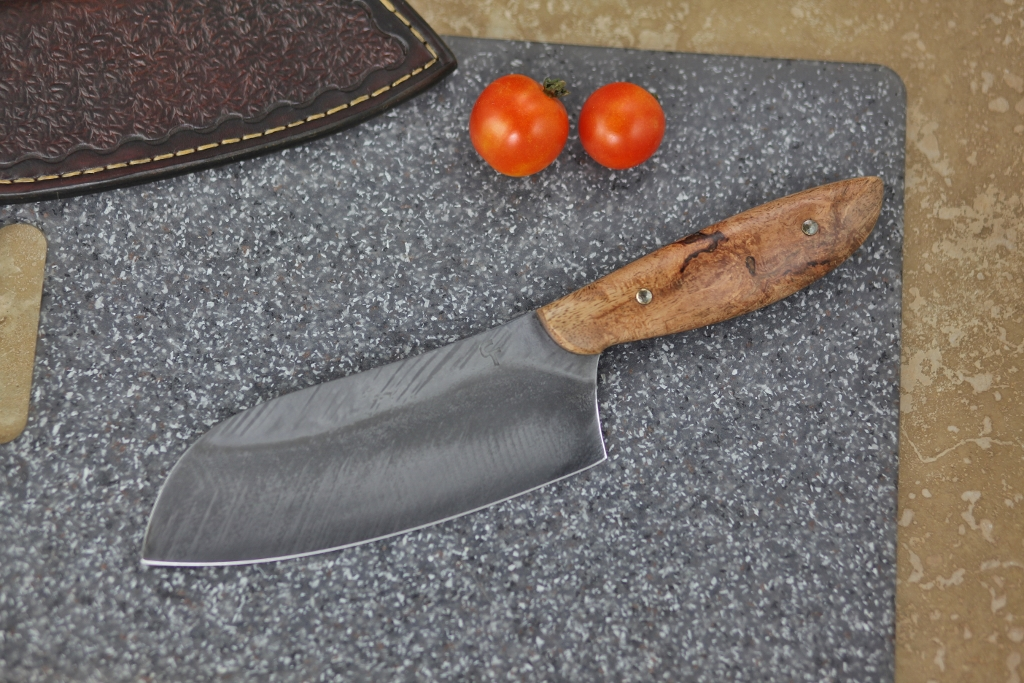 Camp/chef knife in leather, mango wood